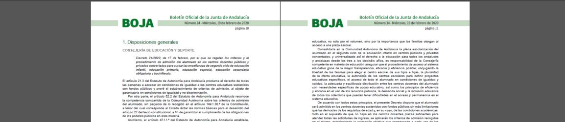 Decreto Admisiones 2020